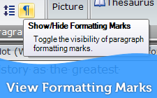 View Formatting Marks