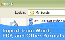 Import from Microsoft Word, HTML and Other Formats